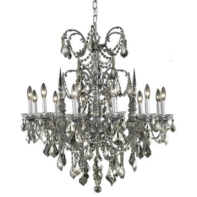 Cherie 12-Light Crystal Chandelier Finish / Crystal Color / Crystal Trim: Pewter / Golden Teak (Smoky) / Royal Cut