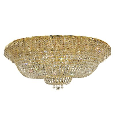 Antione 36-Light 21 Semi Flush Mount Finish: Gold, Crystal Grade: Strass Swarovski