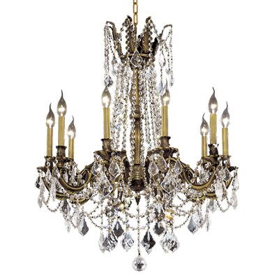 Utica 10-Light Crystal Chandelier Finish / Crystal Color / Crystal Trim: Antique Bronze / Crystal (Clear) / Elegant Cut