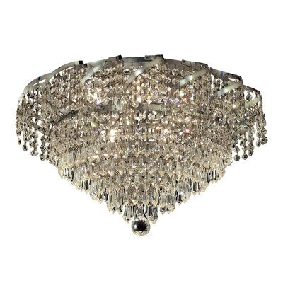 Antione 8-Light Flush Mount Finish: Chrome, Crystal Grade: Royal Cut