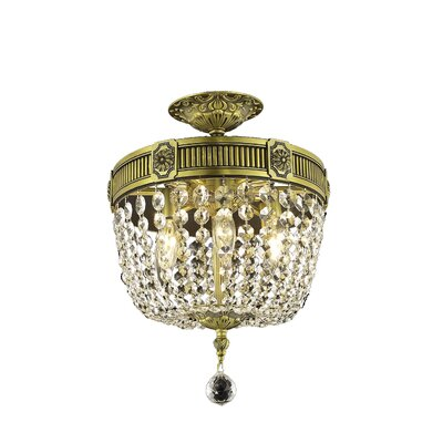 Ursula 3-Light Ceiling or Semi Flush Mount Color: Antique Bronze, Crystal Grade: Elegant Cut