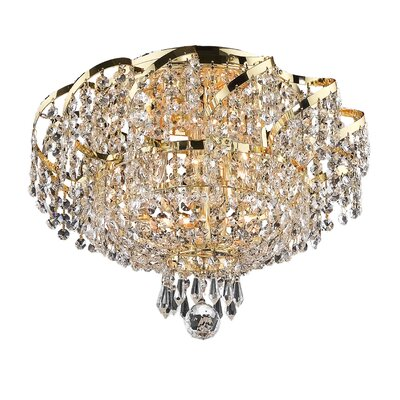 Antione 6-Light 10 Semi Flush Mount Finish: Gold, Crystal Grade: Elegant Cut
