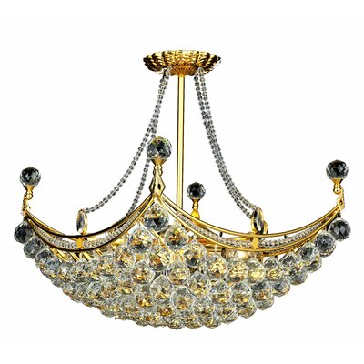 Kasha 8-Light Crystal Chandelier Finish: Gold, Crystal Trim: Royal Cut