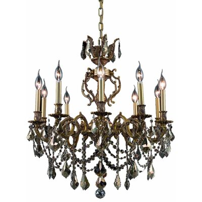Marseille 10-Light Crystal Chandelier Finish / Crystal Color / Crystal Grade: French Gold / Smoky / Strass Swarovski