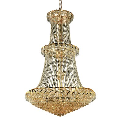 Belenus 32-Light Crystal Chandelier Finish: Gold, Crystal Trim: Strass Swarovski
