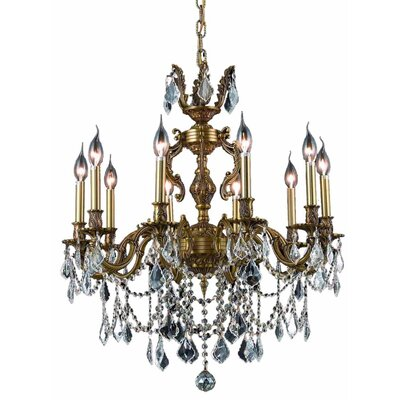 Marseille 10-Light Crystal Chandelier Finish / Crystal Color / Crystal Grade: French Gold / Crystal (Clear) / Spectra Swarovski