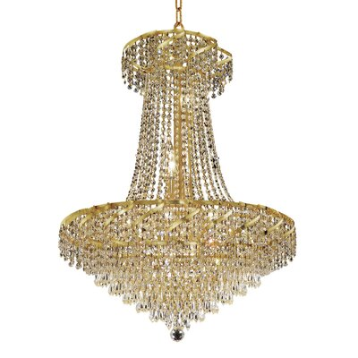 Antione 15-Light Contemporary Chain Empire Chandelier Finish: Gold, Crystal Trim: Elegant Cut