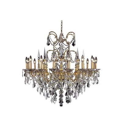 Athena 16-Light Crystal Chandelier Finish / Crystal Color / Crystal Trim: Pewter / Crystal (Clear) / Elegant Cut