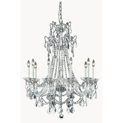 Johnsie 10-Light Crystal Chandelier Finish: Pewter