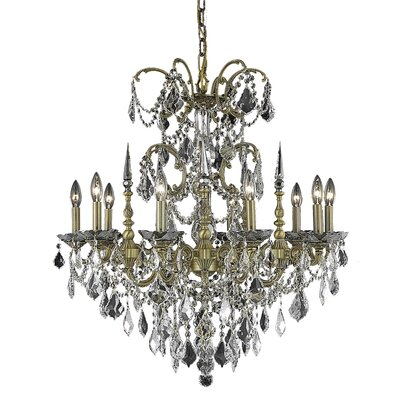 Athena 10-Light Crystal Chandelier Finish / Crystal Color / Crystal Trim: Pewter / Golden Teak (Smoky) / Strass Swarovski
