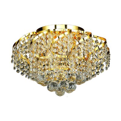 Antione 6-Light Flush Mount Finish: Gold, Crystal Grade: Royal Cut