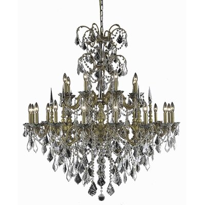 Cherie 24-Light Traditional Crystal Chandelier Finish / Crystal Color / Crystal Trim: Pewter / Golden Teak (Smoky) / Royal Cut