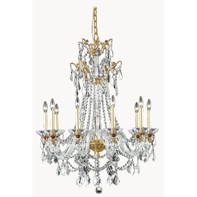 Johnsie 10-Light Crystal Chandelier Finish: French Gold