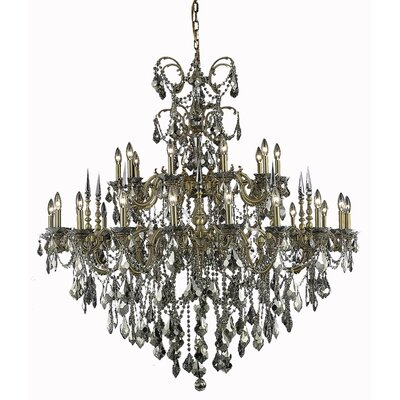 Cherie 30-Light Crystal Chandelier Finish / Crystal Color / Crystal Trim: Pewter / Golden Teak (Smoky) / Royal Cut