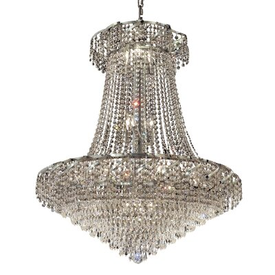 Antione 18-Light Contemporary Chain Empire Chandelier Finish: Gold, Crystal Trim: Elegant Cut