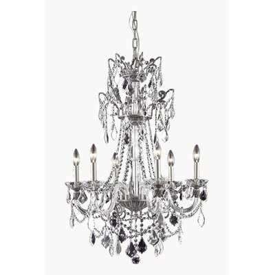 Johnsie 6-Light Crystal Chandelier Finish: Pewter