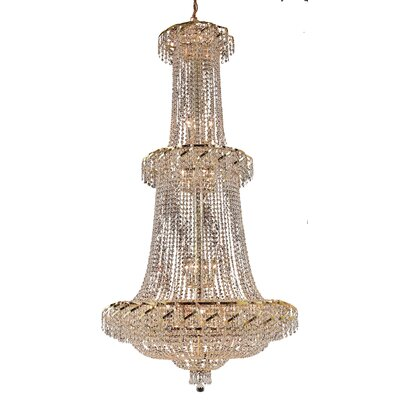 Antione 32-Light Chain Crystal Chandelier Finish: Gold, Crystal Trim: Strass Swarovski