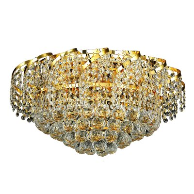Belenus 8-Light Flush Mount Finish: Chrome, Crystal Grade: Royal Cut