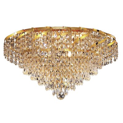 Antione 6-Light Glam Flush Mount Finish: Gold, Crystal Grade: Elegant Cut