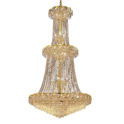 Belenus 32-Light Crystal Chandelier Finish: Gold, Crystal Trim: Elegant Cut