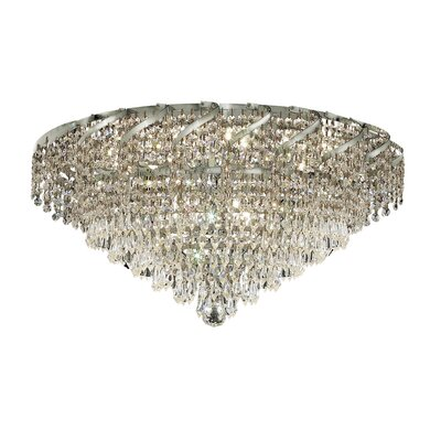 Antione 18-Light Flush Mount Finish: Chrome, Crystal Grade: Elegant Cut