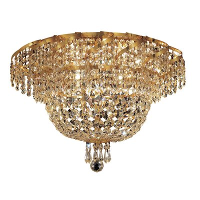 Antione 8-Light Glam Flush Mount Finish: Gold, Crystal Grade: Strass Swarovski