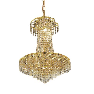 Antione 6-Light Chain Empire Chandelier Finish: Gold, Crystal Trim: Elegant Cut