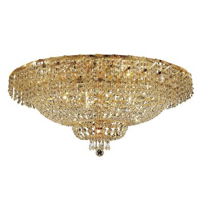 Antione 28-Light 18 Flush Mount Finish: Gold, Crystal Grade: Royal Cut
