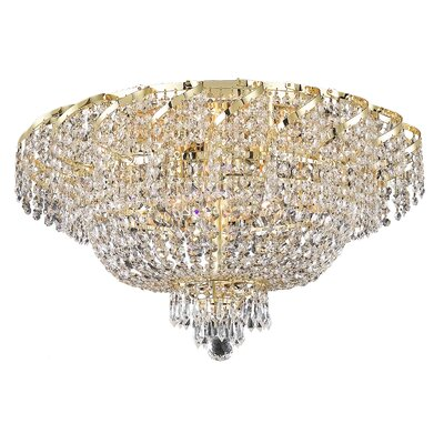 Antione 18-Light 13 Flush Mount Finish: Gold, Crystal Grade: Elegant Cut