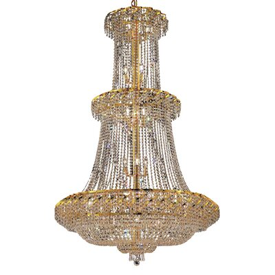 Antione 32-Light Crystal Chandelier Finish: Gold, Crystal Trim: Strass Swarovski