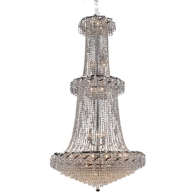 Antione 32-Light Contemporary Chain Crystal Chandelier Finish: Chrome, Crystal Trim: Strass Swarovski