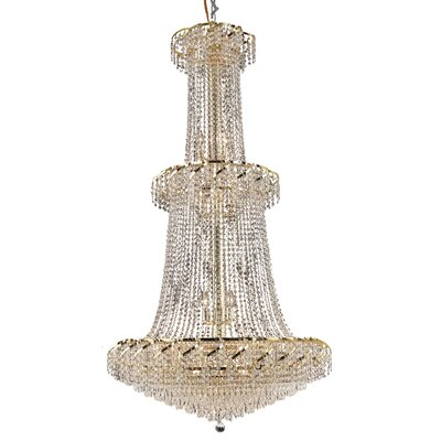 Antione 32-Light Contemporary Crystal Chandelier Finish: Chrome, Crystal Trim: Elegant Cut