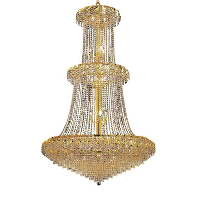 Antione 32-Light Contemporary Chain Crystal Chandelier Finish: Gold, Crystal Trim: Strass Swarovski