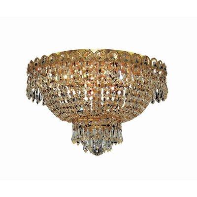Century 4-Light 16 Flush Mount Finish: Gold, Crystal Grade: Elegant Cut