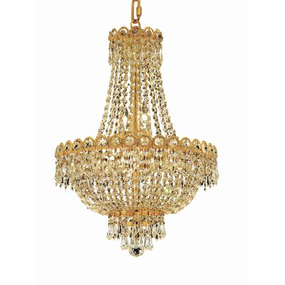 Century 8-Light Empire Chandelier Finish: Gold, Crystal Trim: Elegant Cut