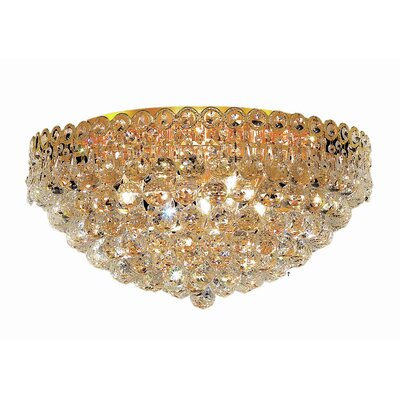 Lorna 9-Light Flush Mount Finish: Gold, Crystal Grade: Elegant Cut