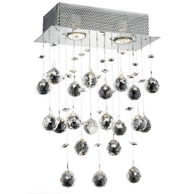Deidamia Contemporary 2-Light LED Wall Sconce Crystal Trim: Elegant Cut