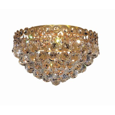 Lorna 4-Light 14 Flush Mount Finish: Gold, Crystal Grade: Royal Cut