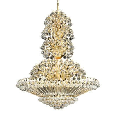 Maud 33-Light Crystal Chandelier Finish: Gold, Crystal Trim: Chrome / Royal Cut