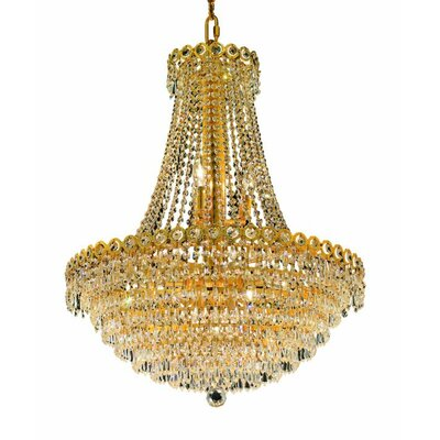 Lorna 12-Light Glass Empire Chandelier Size / Finish / Crystal Trim: 24 / Gold / Spectra Swarovski