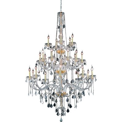 Petties 25-Light Crystal Chandelier Finish: Gold, Crystal Grade: Swarovski Spectra