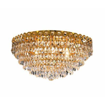 Lorna 6-Light Flush Mount Finish: Gold, Crystal Grade: Elegant Cut