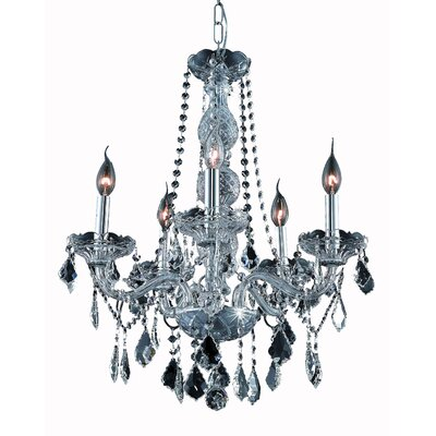 Petties 5-Light Crystal Chandelier Finish: Silver, Crystal Grade: Egyptian
