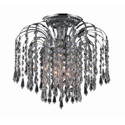 Westrem 3-Light Semi Flush Mount Finish: Chrome, Crystal Grade: Chrome / Strass Swarovski