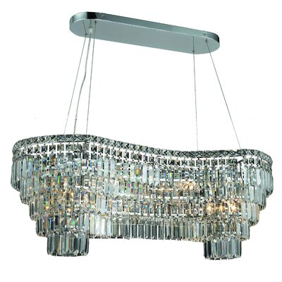 Bratton 14-Light Kitchen Island Pendant Size / Crystal Color / Crystal Trim: 40 / Crystal (Clear) / Elegant Cut