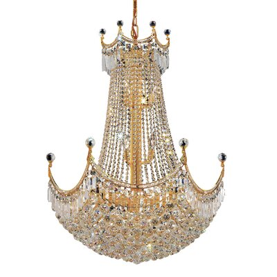 Kasha 24-Light Empire Chandelier Finish: Chrome, Crystal Trim: Elegant Cut