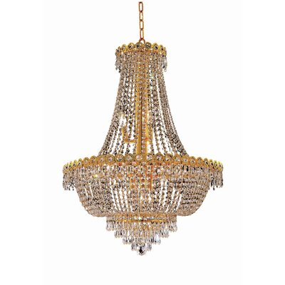 Century 12-Light Empire Chandelier Size / Finish / Crystal Trim: 20 / Chrome / Elegant Cut