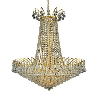 Phyllida 16-Light Chain Empire Chandelier Finish: Gold, Crystal Trim: Elegant Cut