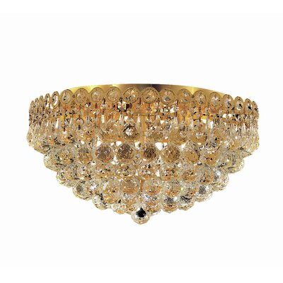 Lorna Glam 6-Light Flush Mount Finish: Gold, Crystal Grade: Strass Swarovski