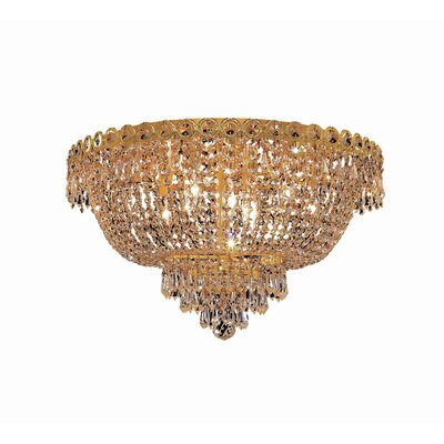 Century 9-Light Flush Mount Finish: Gold, Crystal Grade: Elegant Cut